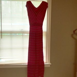 Small, maxi dress. Pink with gray stripes.